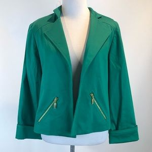 Chico's Green Open Front Blazer Jacket